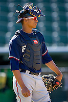 Christian Bethancourt #19 of the Rome Braves at Fieldcrest Cannon Stadium April 11, 2010, in Kannapolis, North Carolina.  Photo by Brian Westerholt / Four Seam Images