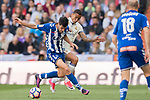 Manuel Alejandro Garcia Sanchez (l) of Deportivo Alaves battles for the ball with Danilo Luiz Da Silva of Real Madrid during their La Liga match between Real Madrid and Deportivo Alaves at the Santiago Bernabeu Stadium on 02 April 2017 in Madrid, Spain. Photo by Diego Gonzalez Souto / Power Sport Images