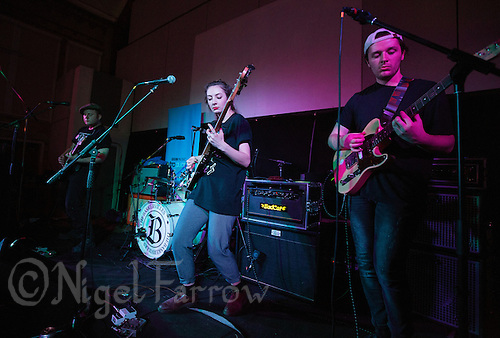 08 APR 2016 - STOWMARKET, GBR - Krista Lynch (second from the left) performing with Superglu, Ben Brown (left), Ben Ward(second from right) andAlex Brown (right), during a recording for BBC Introducing at the John Peel Centre for Creative Arts in Stowmarket, Suffolk, Great Britain (PHOTO COPYRIGHT © 2016 NIGEL FARROW, ALL RIGHTS RESERVED)
