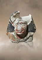 Ancient Egyptian statue head of a monarch, limestone, Middle Kingdom, mis 12th Dynasty, (1900-1850 BC), Qqw el-Kebir, tomb of Ibu. Egyptian Museum, Turin. <br /> <br /> Since this statue head comes from the tomb of Ibu it is likely that they depict a powerful gosvenor, although the incsription is lost. It can be dated by its style which is close to the statues of Amenemhat II and Sesostris II. Schiaparelli excavations. Cat 4410 & 4414