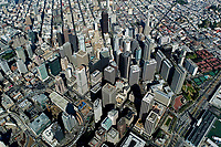 historical high aerial overview of the San Francisco financial district and Transbay redevelopment district, San Francisco, California, 2006