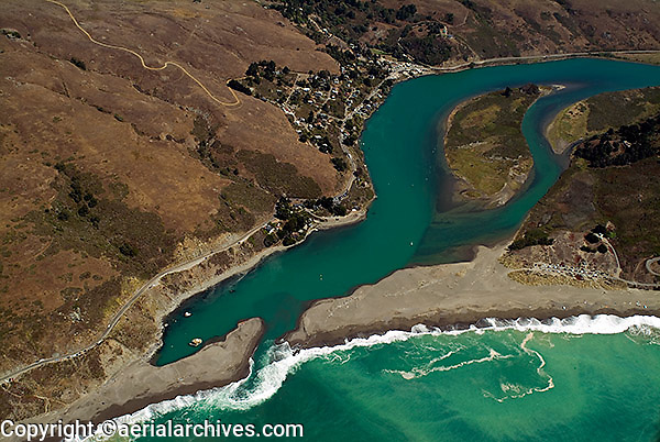 aerial view above Jenner, mouth of Russian River, Pacific Ocean, Sonoma County,  California
