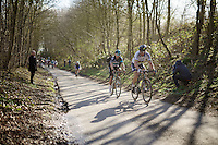 World Champion Peter Sagan (SVK/Tinkoff) & former one Michal Kwiatkowski (POL/SKY) escape from a leading peloton in the Karnemelkbeekstraat and start their rainbow breakaway that will hold until the finish<br /> <br /> E3 - Harelbeke 2016