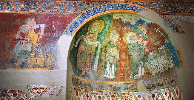 Romanesque frescoes of Apse of St. Steven of Andorra (Sant Esteve) from the church of Sant Esteve d'Andorra, painted around 1200-1210,  Andorra la Vella. National Art Museum of Catalonia, Barcelona. MNAC 35711