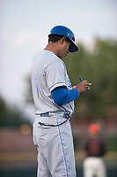 AZL Royals manager Tony Pena Jr (1) during an Arizona League game against the AZL Giants Black at Scottsdale Stadium on August 7, 2018 in Scottsdale, Arizona. The AZL Giants Black defeated the AZL Royals by a score of 2-1. (Zachary Lucy/Four Seam Images)