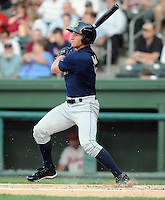 Outfielder Slade Heathcott (11) of the Charleston RiverDogs, Class A affiliate of the New York Yankees, in a game against the Greenville Drive on April 11, 2011, at Fluor Field at the West End in Greenville, S.C. Heathcott was a first-round pick in the 2009 First-Year Player Draft. Photo by Tom Priddy / Four Seam Images