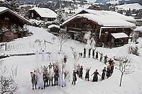 Europe/France/Rhône-Alpes/74/Haute-Savoie/Megève:<br /> Jocelyne, Jean-Louis Sibuet, leur chef exécutif Michel Lentz et toute l'équipe  Fermes de Marie - Pour les 20 ans des Fermes de Marie