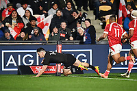 3rd July 2021, Auckland, New Zealand;  Will Jordan scores a try.<br /> New Zealand All Blacks versus Tonga, Steinlager Series, international rugby union test match. Mt Smart Stadium, Auckland. New Zealand.