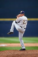 Burlington Bees relief pitcher Zach Hartman (27) delivers a pitch during a game against the Quad Cities River Bandits on May 9, 2016 at Modern Woodmen Park in Davenport, Iowa.  Quad Cities defeated Burlington 12-4.  (Mike Janes/Four Seam Images)