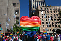 Rainbow colored heart, Seattle Pride Parade 2016, Washington, USA.