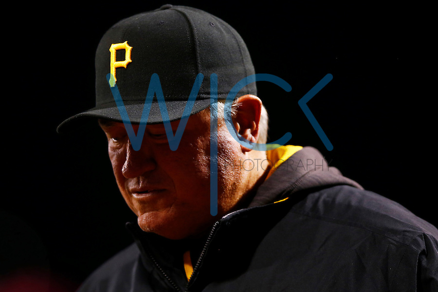 Manager Clint Hurdle #13 of the Pittsburgh Pirates in action against the St. Louis Cardinals during the game at PNC Park in Pittsburgh, Pennsylvania on April 6, 2016. (Photo by Jared Wickerham / DKPS)
