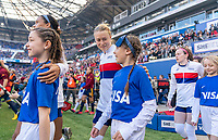 HARRISON, NJ - MARCH 08: Emily Sonnett #14 of the United States enters the field during a game between Spain and USWNT at Red Bull Arena on March 08, 2020 in Harrison, New Jersey.