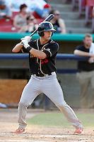 Will Swanner #23 of the Modesto Nuts bats against the High Desert Mavericks at Stater Bros. Stadium on June 29, 2013 in Adelanto, California. Modesto defeated High Desert, 7-2. (Larry Goren/Four Seam Images)