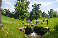 5th June 2021; Dublin, Ohio, USA; Justin Thomas (USA) and Aaron Wise (USA) make their way across the bridge enroute to the green on 17 during the Memorial Tournament Rd3 at Muirfield Village Golf Club on June 5, 2021 in Dublin, Ohio.