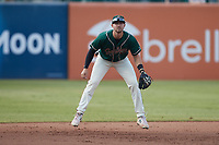 Greensboro Grasshoppers shortstop Jared Triolo (19) on defense against the Winston-Salem Dash at First National Bank Field on June 3, 2021 in Greensboro, North Carolina. (Brian Westerholt/Four Seam Images)