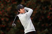 PINEHURST, NC - MARCH 02: Patrick Wu of Boston College tees off on the first hole at Pinehurst No. 2 on March 02, 2021 in Pinehurst, North Carolina.