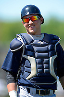 New York Yankees catcher Luis Torrens #33 during warmups before a minor league Spring Training game against the Philadelphia Phillies at Carpenter Complex on March 21, 2013 in Clearwater, Florida.  (Mike Janes/Four Seam Images)
