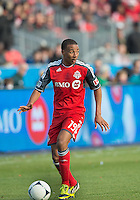 14 April 2012: Toronto FC midfielder Reggie Lambe #19 in action during a game between Chivas USA and Toronto FC at BMO Field in Toronto..Chivas USA won 1-0.
