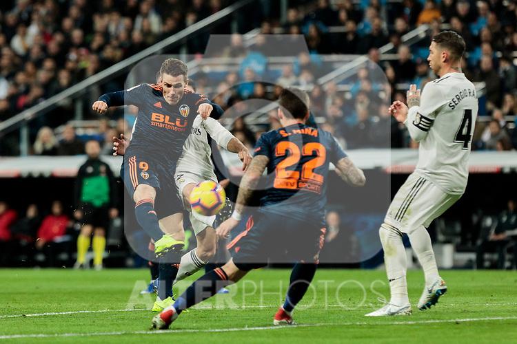 Valencia CF's Kevin Gameiro during La Liga match between Real Madrid and Valencia CF at Santiago Bernabeu Stadium in Madrid, Spain. December 01, 2018. (ALTERPHOTOS/A. Perez Meca)