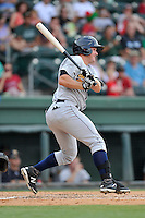Griffin Gordon (33) of the Charleston RiverDogs bats in a game against the Greenville Drive on Sunday, August 16, 2015, at Fluor Field at the West End in Greenville, South Carolina. Charleston won, 6-2. (Tom Priddy/Four Seam Images)
