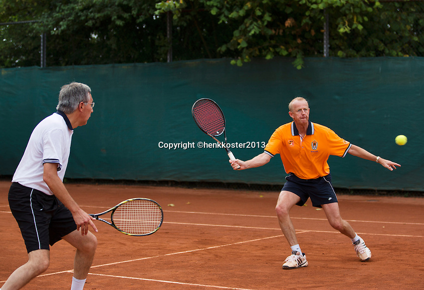 2013,August 24,Netherlands, Amstelveen,  TV de Kegel, Tennis, NVK 2013, National Veterans Tennis Championships,   Men's Doubles Koek/Thung(L)<br /> Photo: Henk Koster