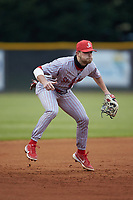 St. John's Red Storm third baseman Justin Folz (25) on defense against the Western Carolina Catamounts at Childress Field on March 13, 2021 in Cullowhee, North Carolina. (Brian Westerholt/Four Seam Images)
