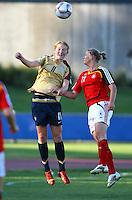Sam Mewis (USA) and Alexandra Popp (GER) compete for the ball..FIFA U17 Women's World Cup, Semi Final, Germany v USA, QEII Stadium, Christchurch, New Zealand, Thursday 13 November 2008. Photo: Renee McKay/PHOTOSPORT