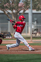 Cincinnati Reds center fielder Miles Gordon (23) during a Minor League Spring Training game against the Los Angeles Angels at the Cincinnati Reds Training Complex on March 15, 2018 in Goodyear, Arizona. (Zachary Lucy/Four Seam Images)