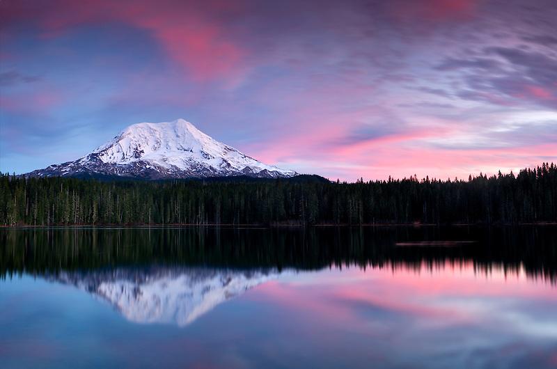 Sunset with reflection in Takhlakh Lake. and Mt Adams. Washington