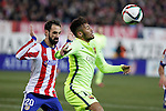 Atletico de Madrid´s Juanfran and Barcelona´s Neymar Jr during Copa del Rey `Spanish King Cup´ soccer match at Vicente Calderon stadium in Madrid, Spain. January 28, 2015. (ALTERPHOTOS/Victor Blanco)
