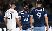 CARSON, CA - MARCH 07: Tosaint Ricketts #87 of the Vancouver Whitecaps warming up during a game between Vancouver Whitecaps and Los Angeles Galaxy at Dignity Health Sports Park on March 07, 2020 in Carson, California.