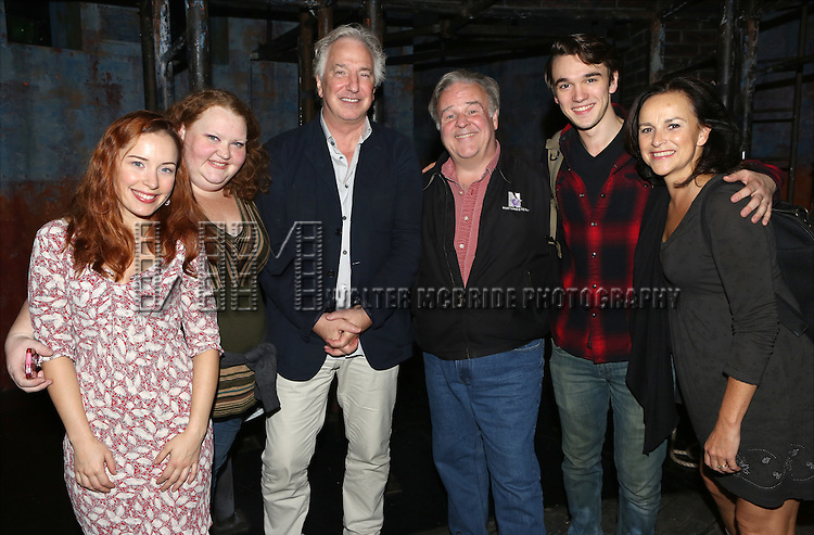 (EXCLUSIVE COVERAGE)  Dawn Cantwell, Shawna M. Hamic, Alan Rickman, Fred Applegate, Collin Kelly-Sordelet and Sally Ann Triplett backstage after a preview performance of 'The Last Ship' at the Neil Simon Theatre  on October 3, 2014 in New York City.