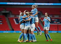 1st November 2020; Wembley Stadium, London, England; Womens FA Cup Final Football, Everton Womens versus Manchester City Womens; Sam Mewis of Manchester City celebrates with her team mates after scoring her sides 1st goal in the 29th minute to make it 1-0