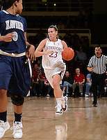 STANFORD, CA - DECEMBER 28: Jeanette Pohlen of Stanford women's basketball brings the ball down-court in a game against Xavier on December 28, 2010 at Maples Pavilion in Stanford, California.  Stanford topped Xavier, 89-52.