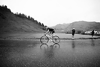Stef Clement (NLD/IAM) over the top of the Col de Joux Plane (HC/1691m/11.6km/8.5%) and starting his descent towards the finish in horrendous conditions<br /> <br /> Stage 20: Megève › Morzine (146.5km)<br /> 103rd Tour de France 2016