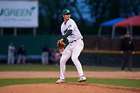 Beloit Snappers relief pitcher Adam Reuss (12) during a Midwest League game against the Lake County Captains at Pohlman Field on May 6, 2019 in Beloit, Wisconsin. Lake County defeated Beloit 9-1. (Zachary Lucy/Four Seam Images)