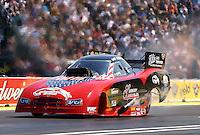 Aug. 3, 2014; Kent, WA, USA; NHRA funny car driver Gary Densham during the Northwest Nationals at Pacific Raceways. Mandatory Credit: Mark J. Rebilas-USA TODAY Sports