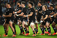 17th July 2021; Hamilton, New Zealand;  Ardie Savea and the All Blacks perform the haka. All Blacks versus Fiji, Steinlager Series, international rugby union test match. FMG Stadium Waikato, Hamilton, New Zealand.