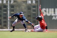 GCL Rays shortstop Bill Pujols (3) tags a baserunner sliding into second during a game against the GCL Red Sox on June 25, 2014 at JetBlue Park at Fenway South in Fort Myers, Florida.  GCL Red Sox defeated the GCL Rays 7-0.  (Mike Janes/Four Seam Images)