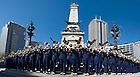 Sept 15, 2014; The Notre Dame Marching Band performs at Monument Circle before the Shamrock Series game against Purdue in Indianapolis. (Photo by Barbara Johnston/University of Notre Dame)