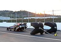 Feb 8, 2014; Pomona, CA, USA; NHRA funny car driver Alexis DeJoria during qualifying for the Winternationals at Auto Club Raceway at Pomona. Mandatory Credit: Mark J. Rebilas-