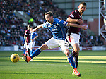 Hearts v St Johnstone…19.03.16  Tynecastle, Edinburgh<br />Chris Kane and Perry Kitchen<br />Picture by Graeme Hart.<br />Copyright Perthshire Picture Agency<br />Tel: 01738 623350  Mobile: 07990 594431