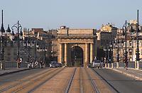 The old Pont de Pierre Bridge. Porte Bourgogne or des Salinieres. Bordeaux city, Aquitaine, Gironde, France