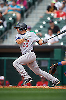 Scranton/Wilkes-Barre RailRiders first baseman Rob Segedin (26) at bat during a game against the Buffalo Bisons on June 10, 2015 at Coca-Cola Field in Buffalo, New York.  Scranton/Wilkes-Barre defeated Buffalo 7-2.  (Mike Janes/Four Seam Images)