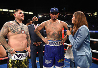 CARSON, CA - MAY 1: Fox Sports reporter Heidi Androl interviews Chris Arreola and Andy Ruiz Jr. after their fight on the Fox Sports PBC Pay-Per-View fight on May 1, 2021 at Dignity Health Sports Park in Carson, CA. (Photo by Frank Micelotta/Fox Sports/PictureGroup)