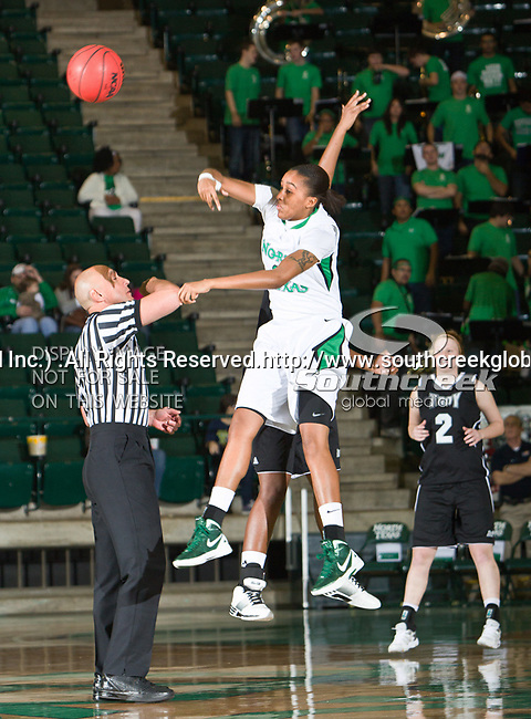 North Texas Mean Green forward Ash'Lynne Evans (1) in action during the game between the Troy Trojans and the University of North Texas Mean Green at the North Texas Coliseum,the Super Pit, in Denton, Texas. UNT defeats Troy 57 to 36.....