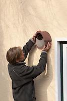 Frau hängt Halbhöhlen-Nistkasten, Halbhöhle, Nistkasten aus Holzbeton an Hausfassade auf, Bruthilfe für Grauschnäpper, Rotschwänzchen und andere