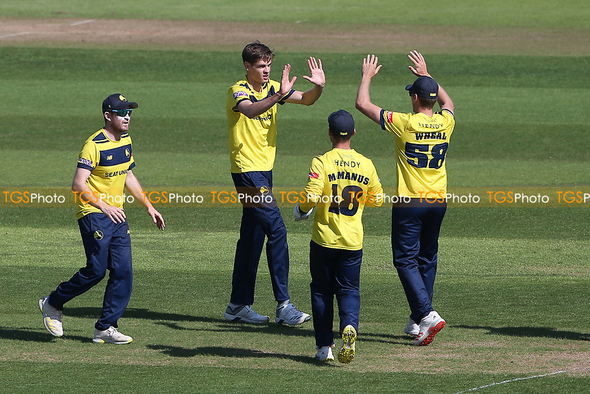 Scott Currie of Hampshire celebrates with his team mates after taking the wicket of Dan Lawrence during Hampshire Hawks vs Essex Eagles, Vitality Blast T20 Cricket at The Ageas Bowl on 16th July 2021