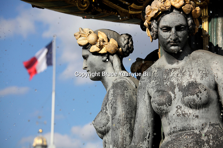 A closed up of view of Fountain sculptures of River Commerce and Navigation in Place de la Concorde. Paris. France