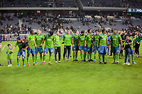 LOS ANGELES, CA - OCTOBER 29: The Seattle Sounders FC celebrate their  MLS Western Conference victory by defeating Los Angeles FC 3-1 during a game between Seattle Sounders FC and Los Angeles FC at Banc of California Stadium on October 29, 2019 in Los Angeles, California.